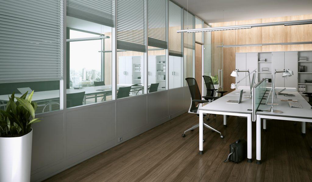 Ściany działowe w nowoczesnym biurze